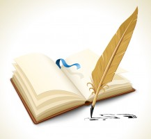 opened book with ink feather tool - vector illustration